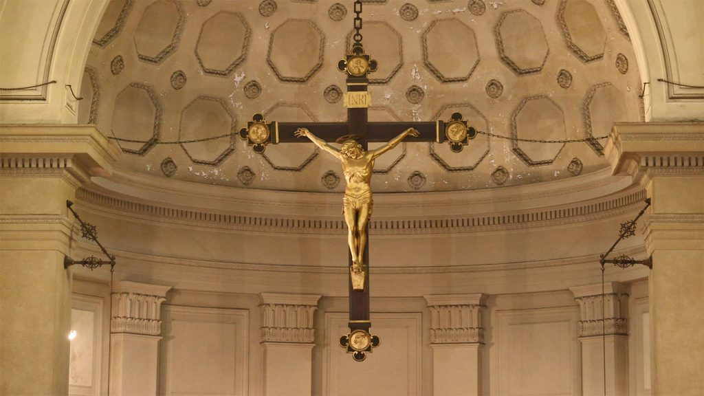 Bronze Crucifix above the main altar